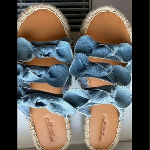 American Eagle Outfitters Light Blue Denim Slides
